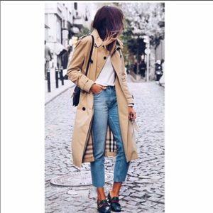 Vintage Burberrys Long Trench Coat, Size 12 Long, Tan